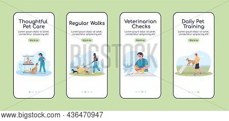 Dog Care Onboarding Mobile App Screen Flat Vector Template. Owner With Pets. Walkthrough Website 4 S