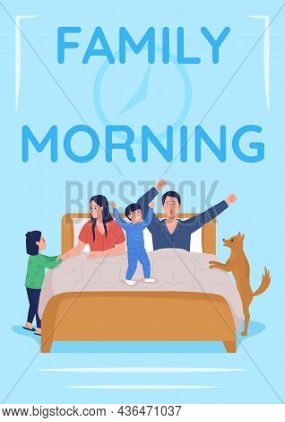 Daily Parent Routine Poster Flat Vector Template. Mother And Father With Children. Brochure, Booklet
