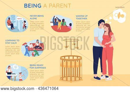 Being A Parent Flat Color Vector Infographic Template. Father And Mother With Kids. Poster With Text