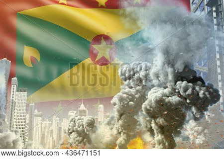 Big Smoke Pillar With Fire In The Modern City - Concept Of Industrial Catastrophe Or Terrorist Act O