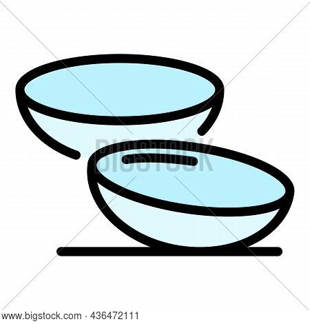 Contact Lenses Icon. Outline Contact Lenses Vector Icon Color Flat Isolated