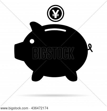 Piggy Bank Flat Icon, Sign Vector With Yuan Web Symbol. Money Income, Economic Graphic Button