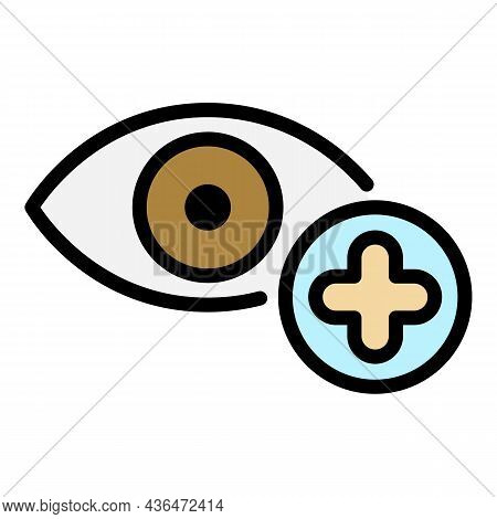 Eye Plus Icon. Outline Eye Plus Vector Icon Color Flat Isolated