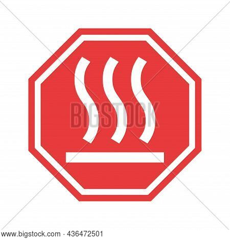Hot Surface Icon, Safety Graphic Information Symbol, Risk Notice Attention Mark, Caution Vector Desi