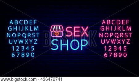 Sex Shop Neon Emblem With Retro Store And Blue, Pink Alphabet. Night Bright Promotion. Intimate Item