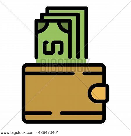 Money And Wallet Icon. Outline Money And Wallet Vector Icon Color Flat Isolated