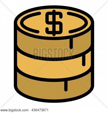Stack Of Gold Coins Icon. Outline Stack Of Gold Coinsvector Icon Color Flat Isolated