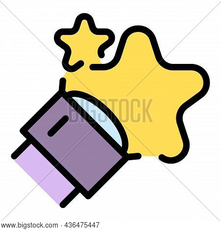 Telescope Lens Star Icon. Outline Telescope Lens Star Vector Icon Color Flat Isolated