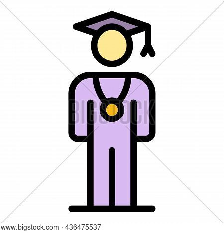 Graduated Student With Medal Icon. Outline Graduated Student With Medal Vector Icon Color Flat Isola