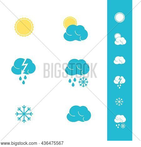 Weather Forecast Icons Set. Cloud, Sun And Snowflake.