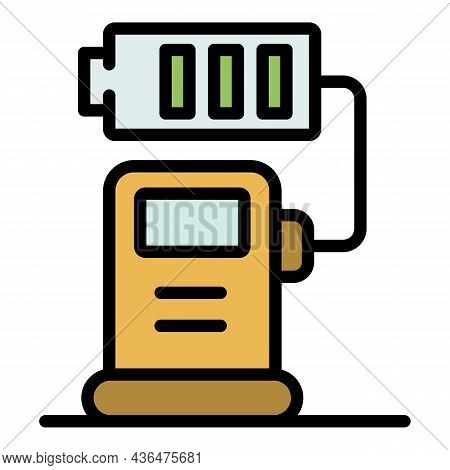 Station Charging Battery Icon. Outline Station Charging Battery Vector Icon Color Flat Isolated