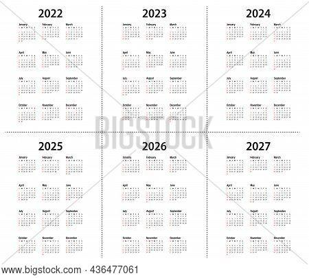 Calendar 2022, 2023, 2024, 2025, 2026, 2027 Year. Vector. The Week Starts On Sunday. Vertical Statio