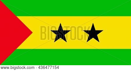 The Flag Of Sao Tome And Príncipe Is An African Island Nation In The Atlantic Ocean