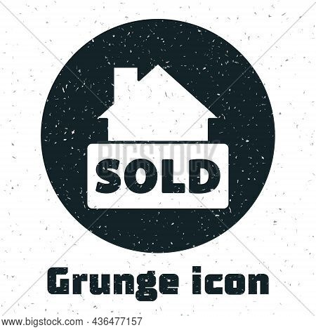Grunge Hanging Sign With Text Sold Icon Isolated On White Background. Sold Sticker. Sold Signboard.