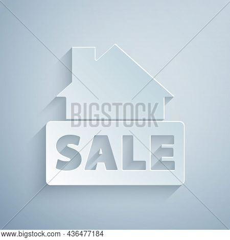 Paper Cut Hanging Sign With Text Sale Icon Isolated On Grey Background. Signboard With Text Sale. Pa