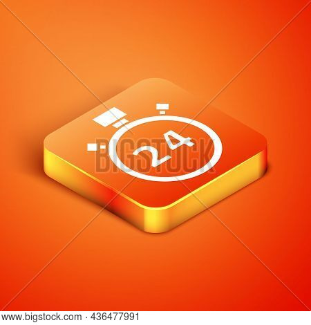 Isometric Stopwatch 24 Hours Icon Isolated On Orange Background. All Day Cyclic Icon. 24 Hours Servi