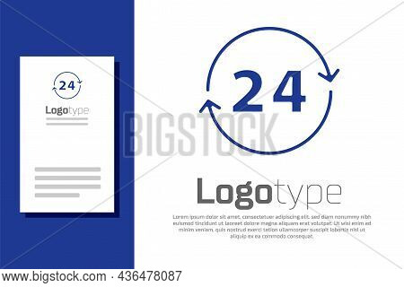 Blue Clock 24 Hours Icon Isolated On White Background. All Day Cyclic Icon. 24 Hours Service Symbol.