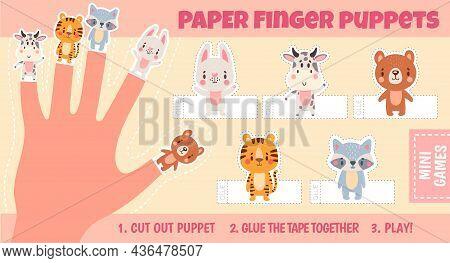 Paper Animal Finger Puppets Worksheets For Kids Hand. Handmade Theatre Activity. Children Cut Craft