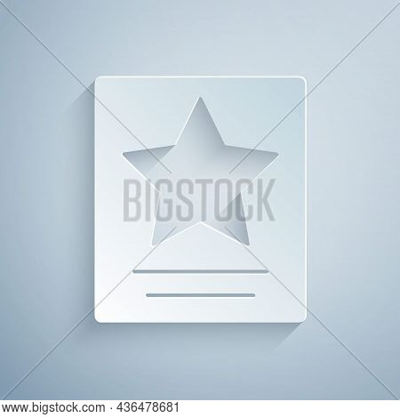 Paper Cut Hollywood Walk Of Fame Star On Celebrity Boulevard Icon Isolated On Grey Background. Famou