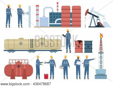 Flat Oil Engineer Workers And Gas Industry Buildings. Petroleum Rig, Refinery, Fuel Tanks And Barrel