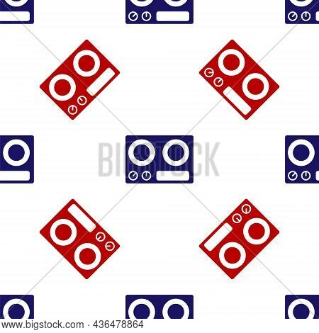 Blue And Red Gas Stove Icon Isolated Seamless Pattern On White Background. Cooktop Sign. Hob With Fo