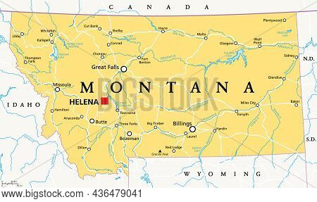 Montana, Mt, Political Map With The Capital Helena. State In The Mountain West Subregion Of The West