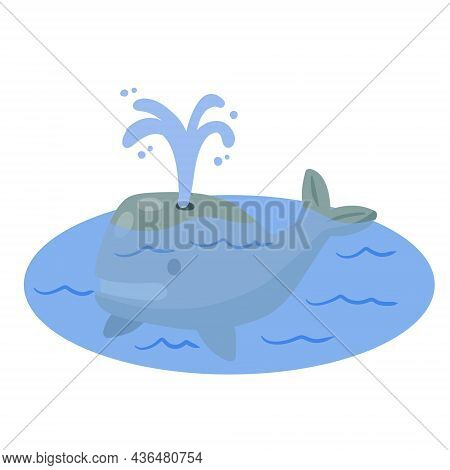 Cute Funny Whale With Water Fountain In Sea Or Ocean. Funny Blue Sperm Whale. Children Drawing In Sc