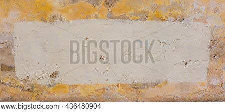 Old Abandoned Grunge Yellow Wall With Fresh Paintef Copy Space For Text