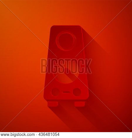 Paper Cut Stereo Speaker Icon Isolated On Red Background. Sound System Speakers. Music Icon. Musical