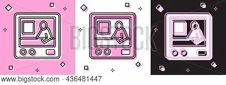 Set Television Report Icon Isolated On Pink And White, Black Background. Tv News. Vector