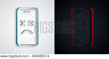 Paper Cut Dead Mobile Icon Isolated On Grey And Black Background. Deceased Digital Device Emoji Symb
