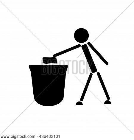 A Person Throws Trash In A Trashcan. Schematic Black And White Illustration.
