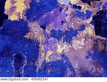 Texture Of Blue And Yellow Grungy Wall. Old Wall Texture Background, Broken Plaster For Backdrop Or