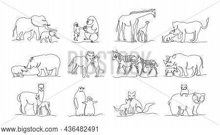 One Line Wild Animals. Trendy Continuous Line Animals, Elephant Chimpanzee Giraffe Lion Hippo Wolf Z