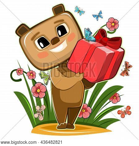 Baby Bear Carries Gift To Friend. Red Box With Ribbon And Bow. Summer Childrens Illustration. On Gla