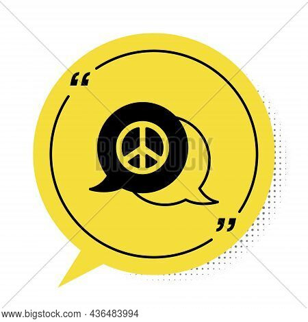 Black Peace Icon Isolated On White Background. Hippie Symbol Of Peace. Yellow Speech Bubble Symbol.