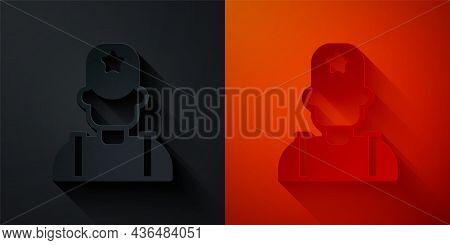 Paper Cut Sheriff Cowboy Hat With Star Badge Icon Isolated On Black And Red Background. Police Offic