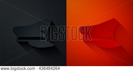 Paper Cut Pilot Hat Icon Isolated On Black And Red Background. Paper Art Style. Vector