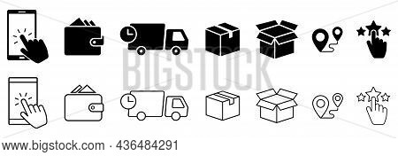 Click And Collect Order, Vector Icons Set, Online Order, Delivery Truck, Delivery Service Steps, Pic