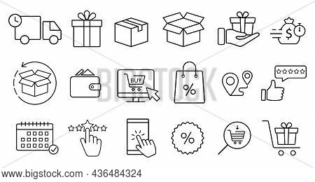 Click And Collect Order, Vector Line Icons Set, Online Order, Delivery Truck, Delivery Service Steps