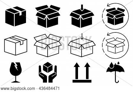 Box Icon Set In Line Style, Delivery Box, Package, Export Boxes, Cargo Box, Return Parcel, Open Pack