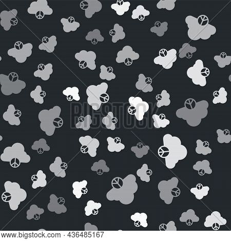 Grey Peace Cloud Icon Isolated Seamless Pattern On Black Background. Hippie Symbol Of Peace. Vector