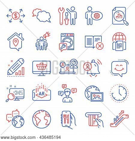 Technology Icons Set. Included Icon As Restaurant App, Augmented Reality, Dollar Exchange Signs. Use