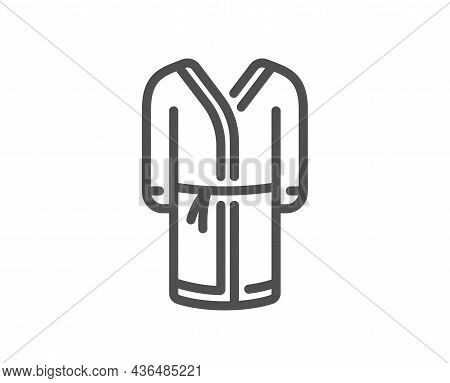 Bathrobe Line Icon. Housecoat Robe Sign. Fabric Dressing Gown Symbol. Quality Design Element. Line S