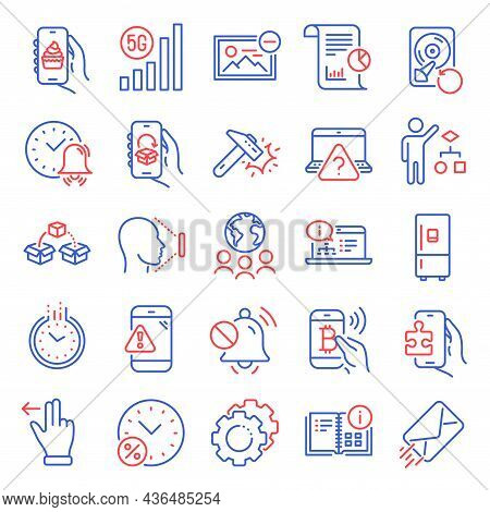 Technology Icons Set. Included Icon As Online Documentation, Delivery App, 5g Wifi Signs. Mute Sound