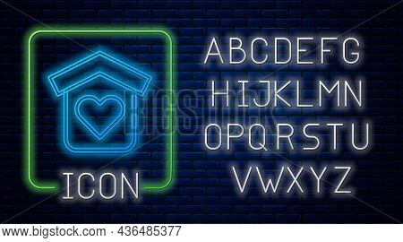 Glowing Neon Shelter For Homeless Icon Isolated On Brick Wall Background. Emergency Housing, Tempora