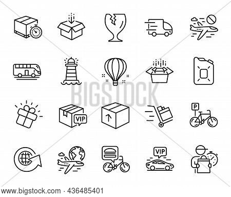 Vector Set Of Bicycle Parking, Package And Get Box Line Icons Set. Cancel Flight, Fragile Package An