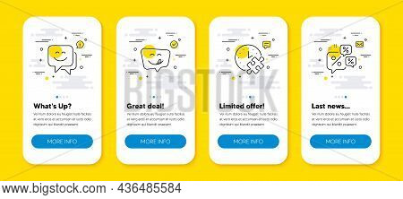 Vector Set Of Puzzle Time, Yummy Smile And Smile Face Line Icons Set. Ui Phone App Screens With Line