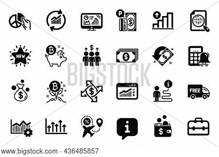 Vector Set Of Finance Icons Related To Free Delivery, Operational Excellence And Growth Chart Icons.