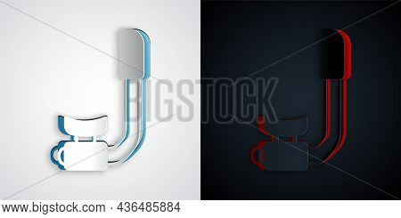 Paper Cut Snorkel Icon Isolated On Grey And Black Background. Diving Underwater Equipment. Paper Art